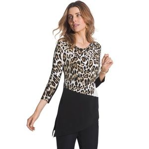 Chico's Cadence Animal Print Colorblock Top